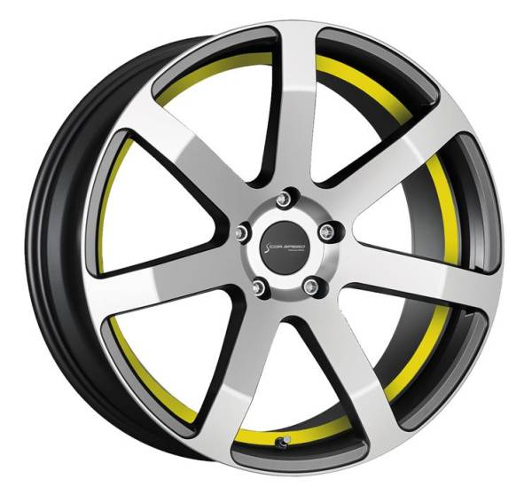CORSPEED CHALLENGE Higloss-Gunmetal-polished / undercut Color Trim gelb 8.5x19 5x112 Lochkreis
