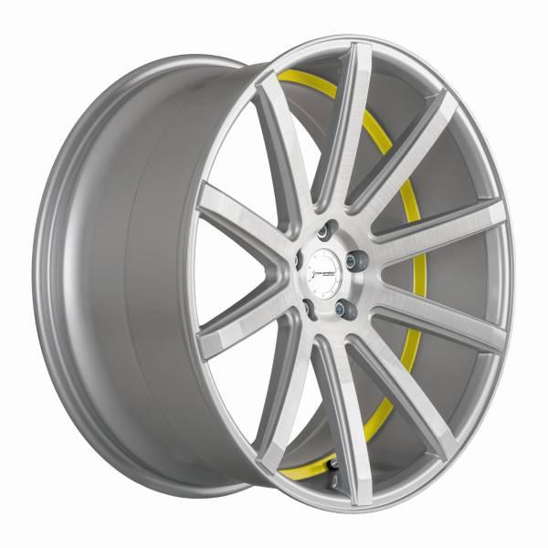 Corspeed Deville 9x21 ET35 5x112 Silver-brushed-Surface/ Undercut Color Trim gelb