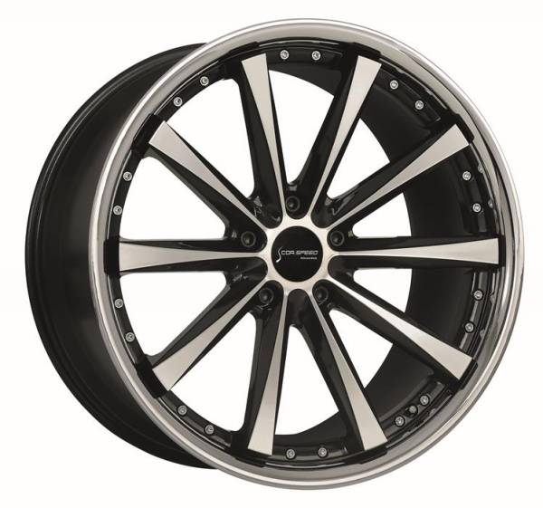 CORSPEED ARROWS Higloss black polished inox lip 9x18 5x112 Lochkreis