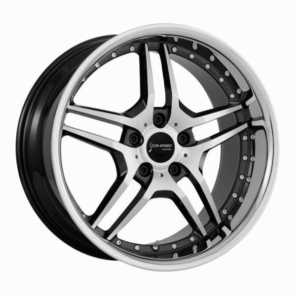 CORSPEED VEGAS Higloss black polished inox lip 9x18 5x112 Lochkreis